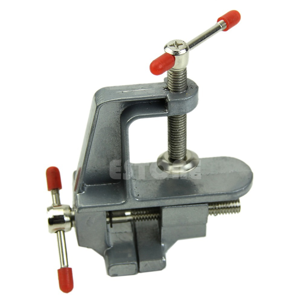 "C18 2015 New 3.5"" Aluminum Miniature Small Jewelers Hobby Clamp On Table Bench Vise Tool Vice free shipping(China (Mainland))"