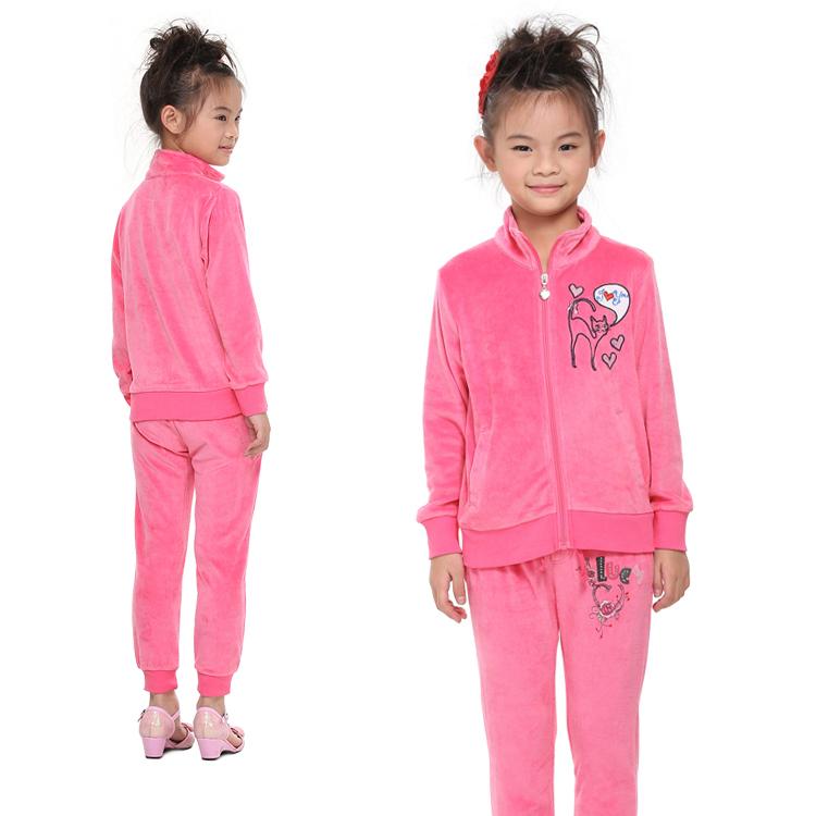 wholesale nova kids wear velveteen high quality with cartoon zipper girl clothes sets 2015 newest design for boy(China (Mainland))