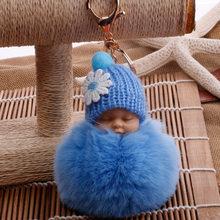 Novo saco de dormir do bebê chaveiro fake Fur Pom Pom Mulheres Cadeia Bugiganga Chave Anel Chave Do Carro Chaveiro Presente Da Jóia chaveiro fofo no material do saco(China)