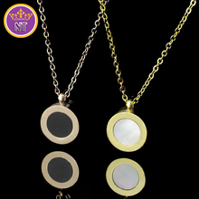 NT fashion 2015 new titanium steel gold plated jewelry two side black white shell bulgary womens logo pendant necklace for women(China (Mainland))