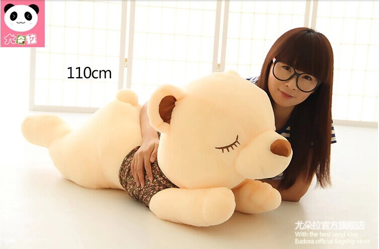 big stuffed lovely lying bear toy plush squinting bear in brown cloth doll gift about 110cm<br><br>Aliexpress