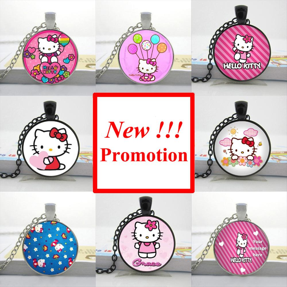 2015 New Fashion Glass Dome Pendant Cartoon Cat Pendant Necklace Lovely Kitty Jewelry Girls Glass Cabochon Necklace(China (Mainland))
