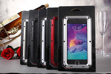 For I6 + 5.5inch Case hard tight Cover For Iphone6 Plus 5.5inch Hard metal alloy+gorilla glass Screen Full dirt/shockproof case