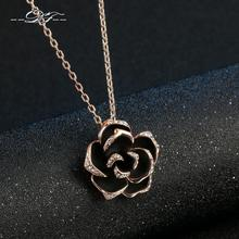 Buy DFN021 Big Black Rose Rose Gold Color Charms Necklaces & pendants Fashion Jewelry Women Gifts Crystal Chains colares joias for $6.35 in AliExpress store