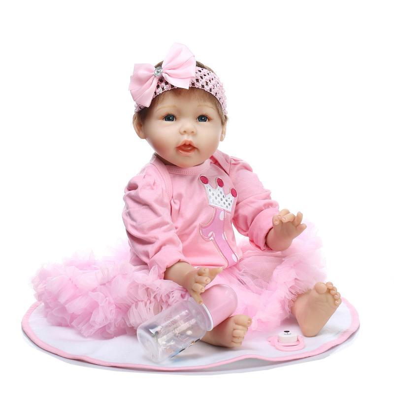 "Silicone reborn babies 22"" blue eyes pink dress brand"