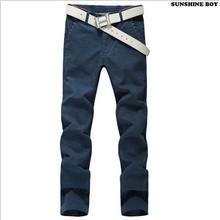 Sunshine Boy Fashion 2015 Autumn Winter Casual Pants Men New Brand Stretch Brushed Silm Fit Men