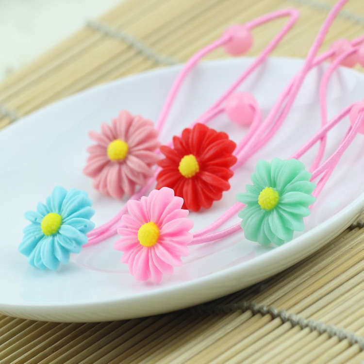 boutique cute daisy children baby girls elastic hair ties string satin flower hairband springs rubber bands accessories headband(China (Mainland))