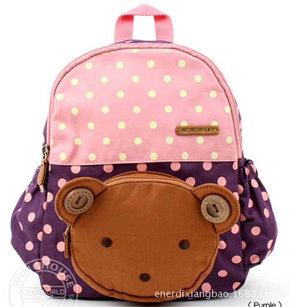 2015 Retail Animal Cute children's bear design school bags girls pink shoulders bag kids backpacks gift for little boys 1pc(China (Mainland))
