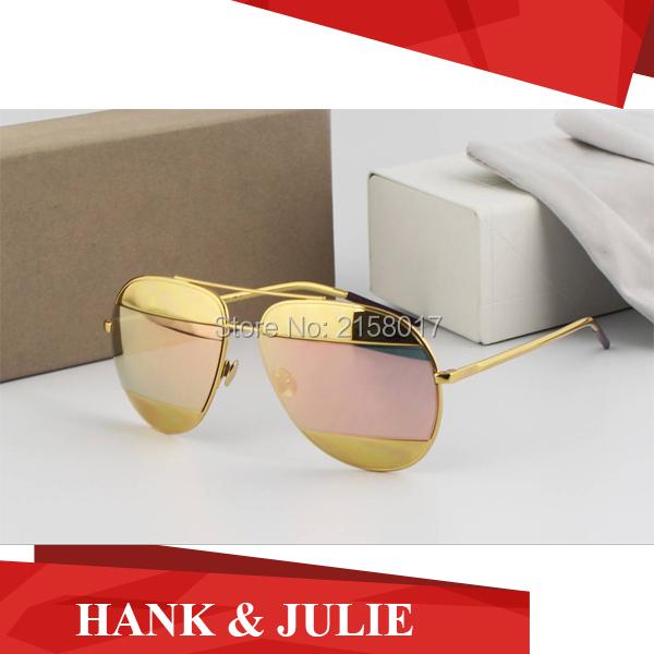 Фотография New Sunglasses 2016 Women Brand Designer Split Oculos De Sol Feminino With Metal Frame Double Color Lens With Original Logo Box