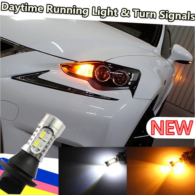 10w 1156 Bau15s PY21W 7507 7440 t20 7443 T25 3157 3156 DRL Daytime Running Light & Turn Signal Light White+Amber Free shipping(China (Mainland))