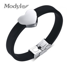 Modyle Fashion Jewelry Sale Top Quality Stainless Steel Heart Bracelet For Woman 2016 New Silicone Bracelets & Bangles(China (Mainland))