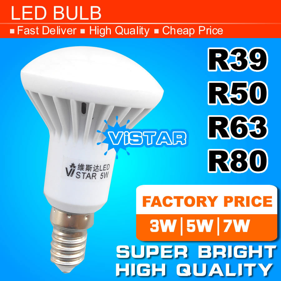 R39 R50 R63 LED lamp E14 E27 Base 3W 5W 7W 9W 220V 230V 240V 12W 15W 20W R80 R95 R125 Warm white Cold white free shipping(China (Mainland))