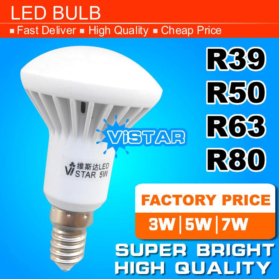 R39 R50 R63 LED lamp E14 E27 Base 3W 5W 7W 9W 220V 230V 240V Warm white Cold white free shipping(China (Mainland))