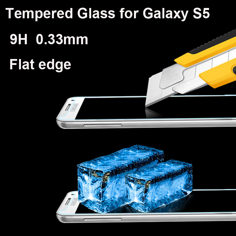 0.33mm 9H Hardness Premium Explosion-proof Shattetproof For Samsung Galaxy S5 i9600 Tempered Glass Screen Protector Film(China (Mainland))