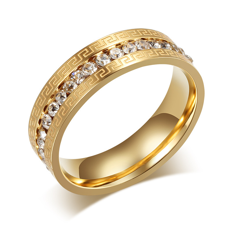 18K Gold Plated Crystal Wedding Rings For Women Stainless Steel Great Wall Design Imitation Diamond Women Party Rings Jewelry(China (Mainland))