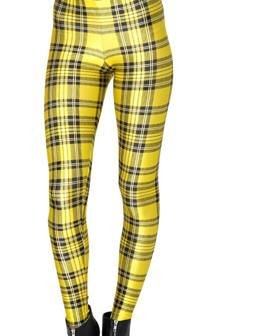 font b Tartan b font Yellow Plaid Checks Print Leggings Women Footless Elastic leggings
