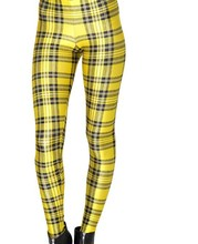 Tartan Yellow Plaid Checks Print Leggings Women Footless Elastic leggings