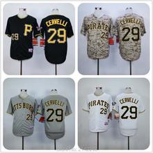 #29 Francisco Cervelli Pittsburgh Pirates Baseball Jerseys Stitched White Gray Black Camo Men Pirates Jersey(China (Mainland))