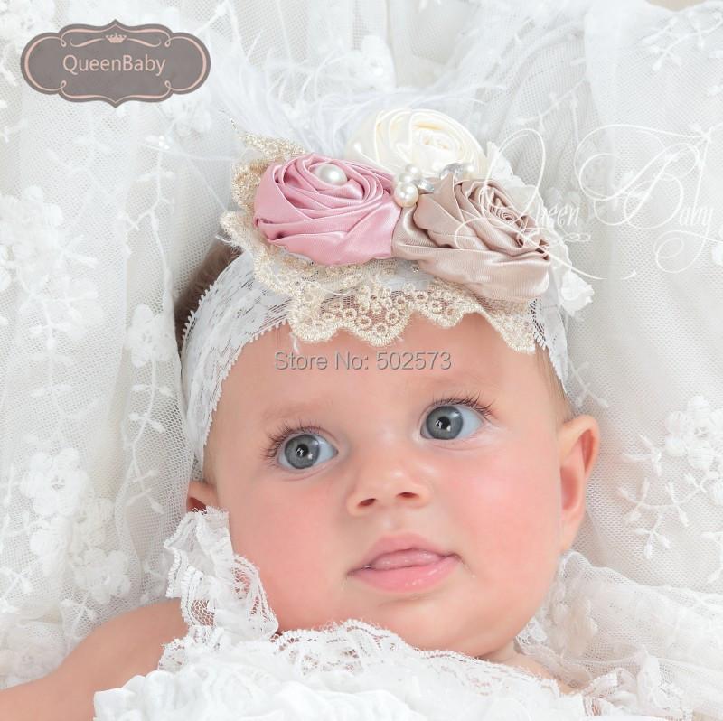 6pcs/lot Triple Satin Rosette Matching Feather Lace Sparkling Pearl Headband Baby Girl Headband(China (Mainland))