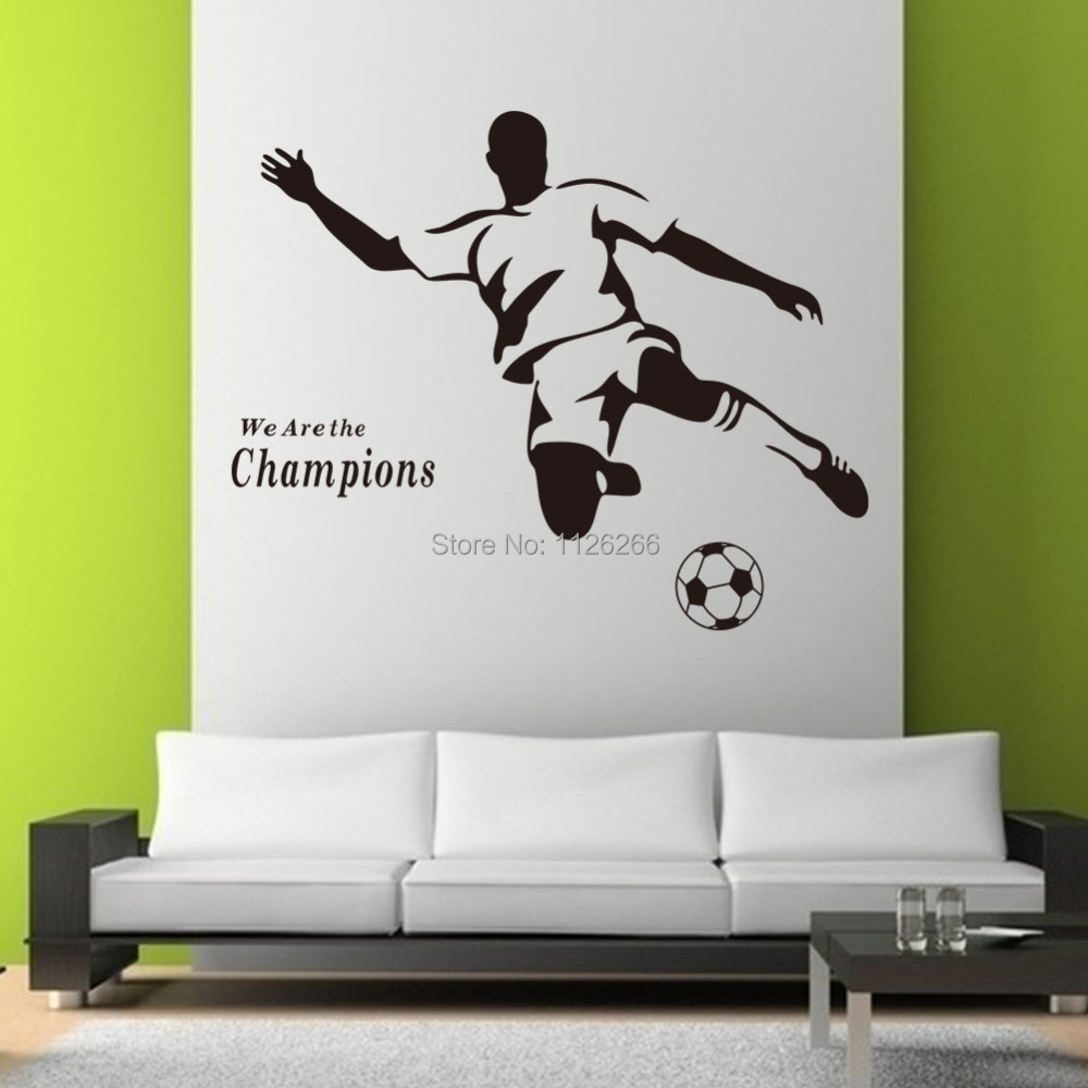 soccer wall sticker football player decal sports decoration mural for