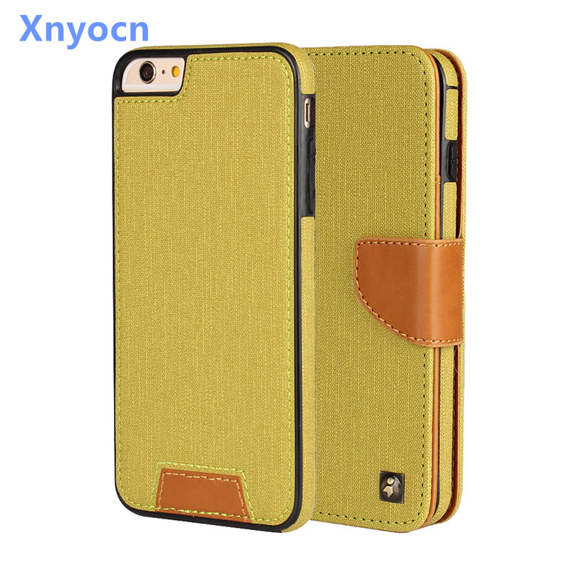 xnyocn For iPhone 6 Case Wallet Card 2-in-1 Leather twill fabric Flip Soft Cover Cell Phone Cases For Apple iPhone 6 6S plus(China (Mainland))