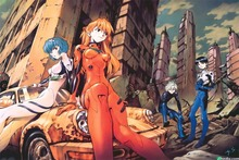 New Evangelion Poster Japanese Anime Boy And Girl Favorite Cartoon Bedroom Decorative Arts Silk Wallpaper DM1022