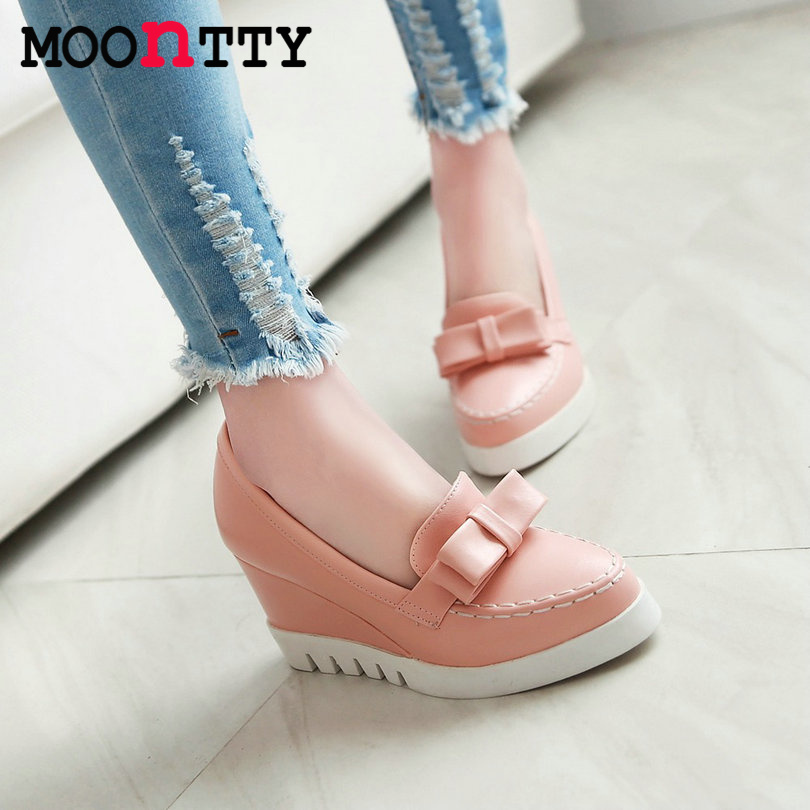 MOONTTY New Bow Tie Slip On Wedges High Heels Women Pumps Round Toe Pu Platform Autumn/Spring Lady Party Shoes Size 34-43 Pink