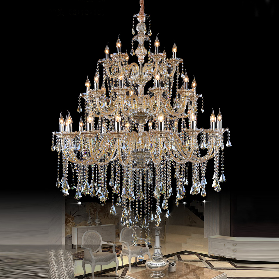 Large Crystal Chandelier Hotel Project Assembly Hall