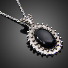 Fashion Retro Silver Ellipse Black Jewlery Girls Long Sweater Necklace BS88