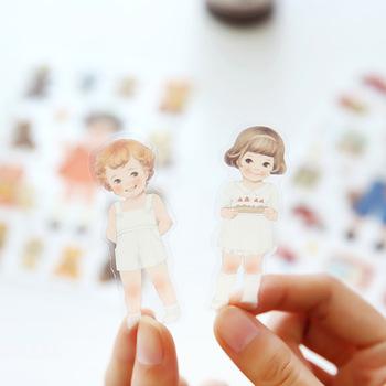 6 Sheets Kawaii Cute Girl Doll  Phone Decorative Stickers DIY Album Decor Stick Label Paper Crafts
