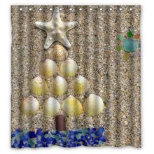 Sandbeach Shell Seaglass Tree Custom Bath Waterproof Shower Curtain Bathroom Products Curtains 48x72, 60x72, 66x 72 inches - The Meow Ji Store store