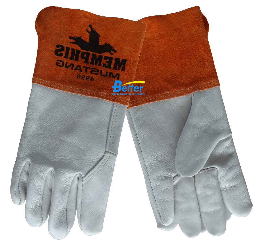 Leather work gloves for welding - Leather Work Glove Gauntlet Split Leather Cuff Mustang Mig Tig Safety Glove A Grade Grain Cow Leather Welding Glove