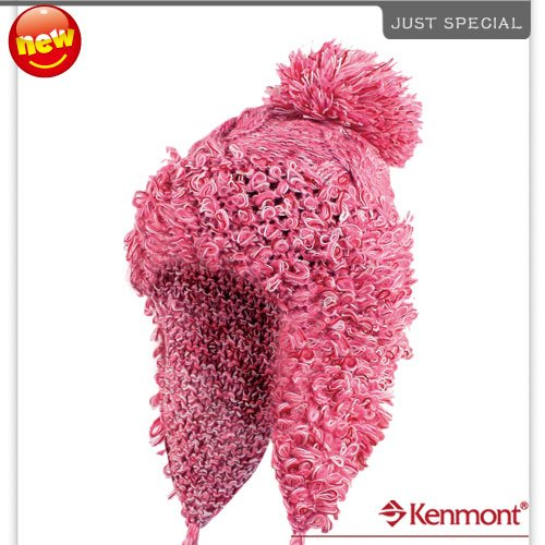 New Arrival Wool Earflap Hat, Hand Knitted Beanie Hat, Icelandic Wool Winter Hat KM-1204-17 Pink(China (Mainland))