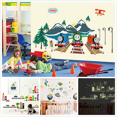50X110cm Cartoon Stickers Thomas & Friends The Tank Engine Train Kids Bedroom Decor Art Nursery Wall Sticker Home Decal(China (Mainland))