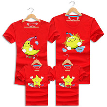 2016 Summer Family Matching Outfits Clothes Casual Short Sleeve Printed Family Look T Shirts For Mother Father Daughter Son
