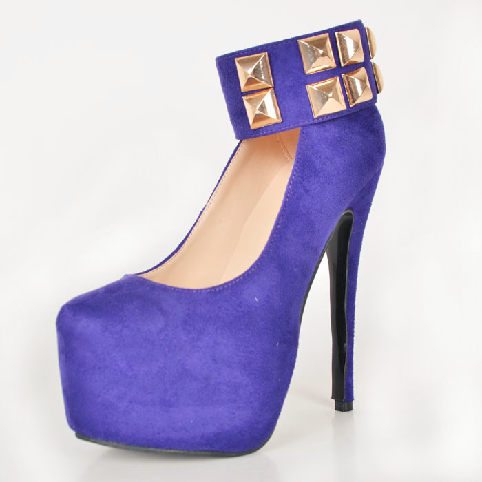 Blue Rhinestone Ankle Strap Women Pump Slip-ons Round Toe Shoes Made-to-order Donne Scarpe Tacco Alto Custom High Heels Height