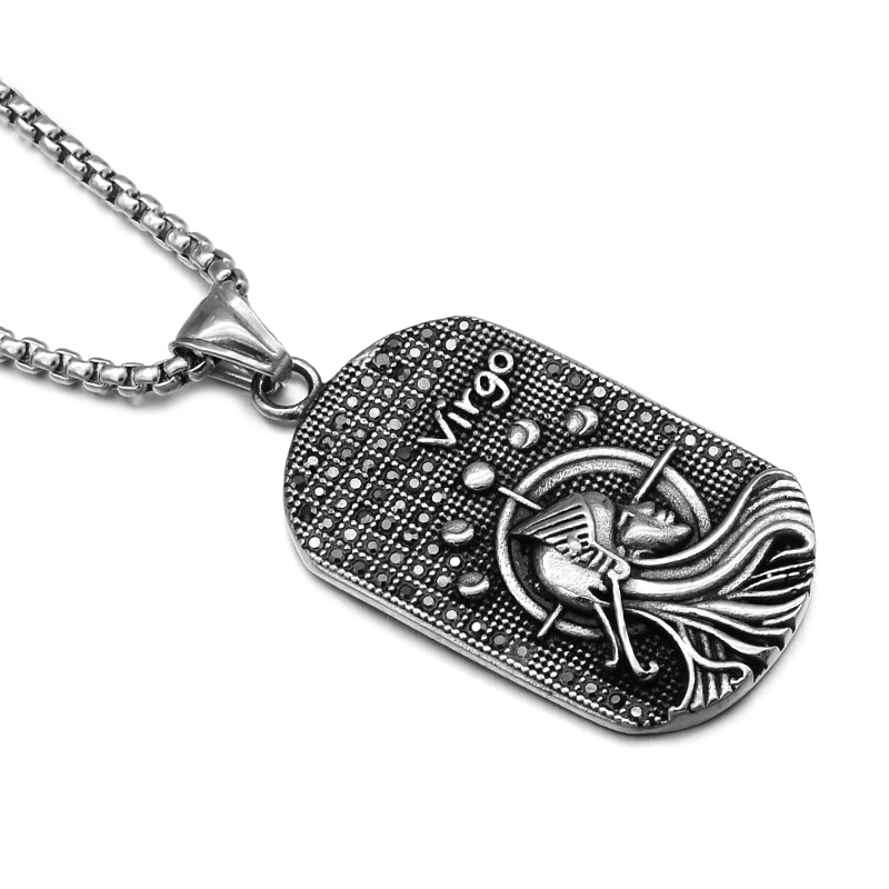 Black Zodiac Dog Tag Necklace: Zodiac Stainless Steel Promotion-Shop For Promotional