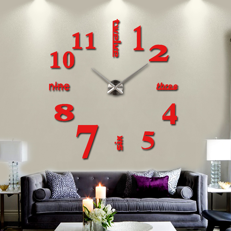 2015 new hot sale home decorations big wall clock acrylic for Living room wall clocks