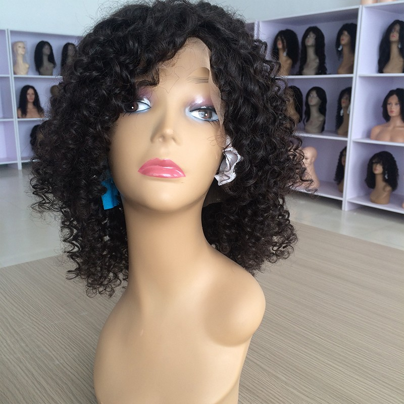 Фотография 7A Grade Brazilian Curly Full Lace Wig Glueless Short Curly Full Lace Virgin Human Hair Kinky Curly Wig With Baby Hair