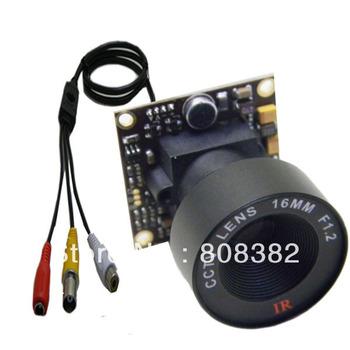 HD 700TVL Effio Sony CCD 960H Mini CCTV Home Surveillance Security Tiny FPV PCB Board Audio Mic Camera OSD D-WDR 16mm Lens