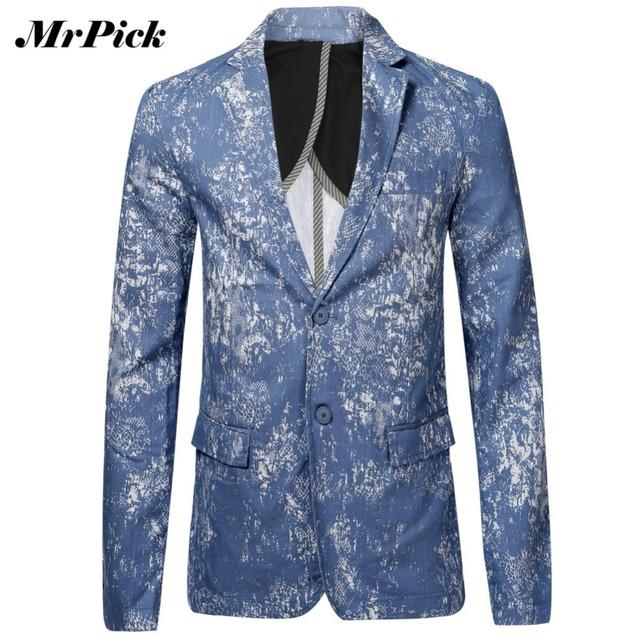 Mrpick мужчины мода блейзер 2016 новый тонкий две кнопки однобортный свободного покроя ...