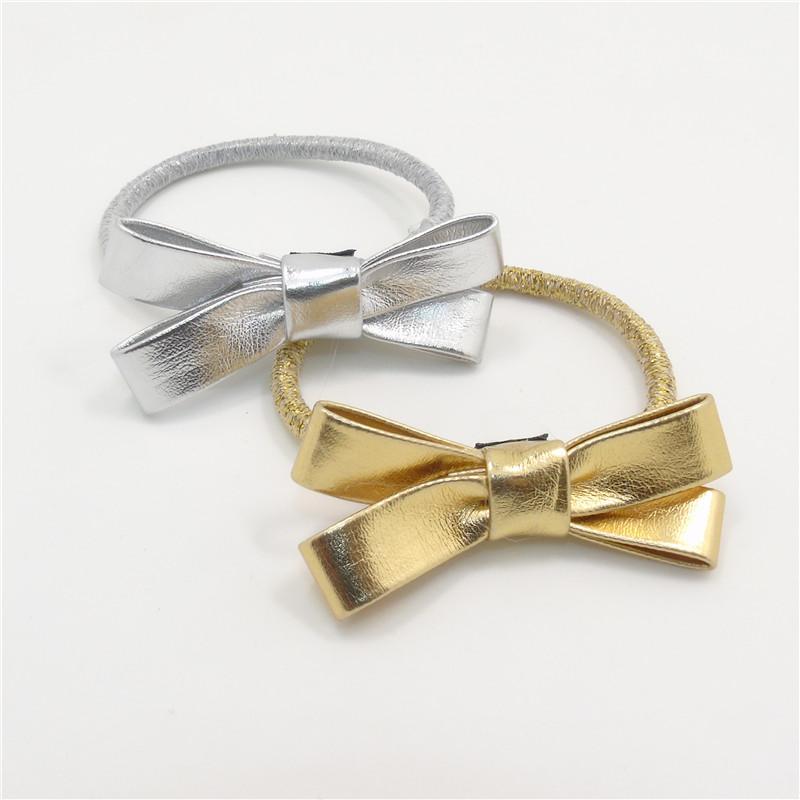20 unids/lote oro plata Shinny nudo del arco elástico Hairbands carnaval Metallic partido Barrettes cuero de la PU pelo del arco.