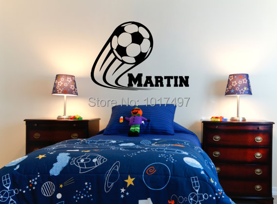Vinyl soccer football wall decals personalized name kids for Personalized kids room decor