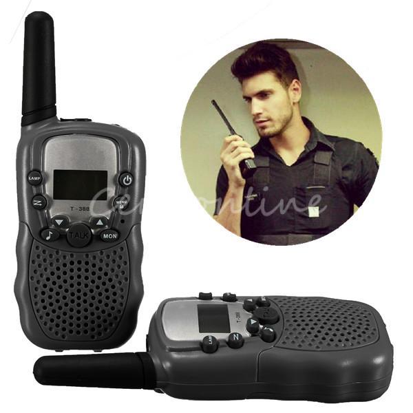 2pcs Dual Black Mini Portable Adjustable LCD 5KM UHF Car Auto VOX Multi Channels 2-Way Radio Wireless Travel Walkie Talkie T-388(China (Mainland))