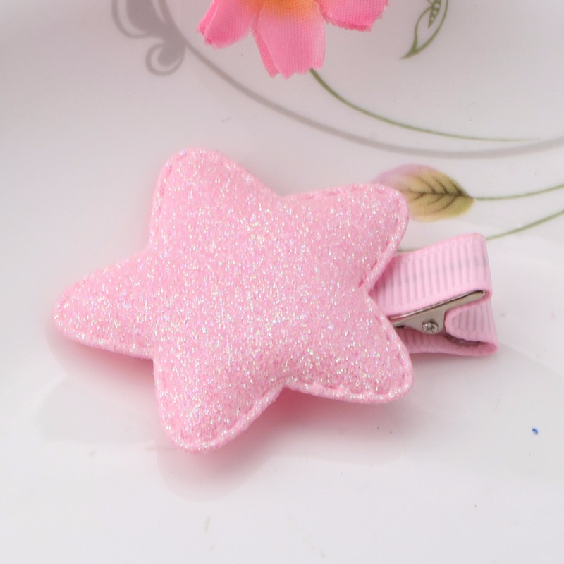 Babys Metal Color Shiny Star Children Accessories Hairpins Glitter Leather Hair Ornaments Barrettes Girls Headbands Hairclips