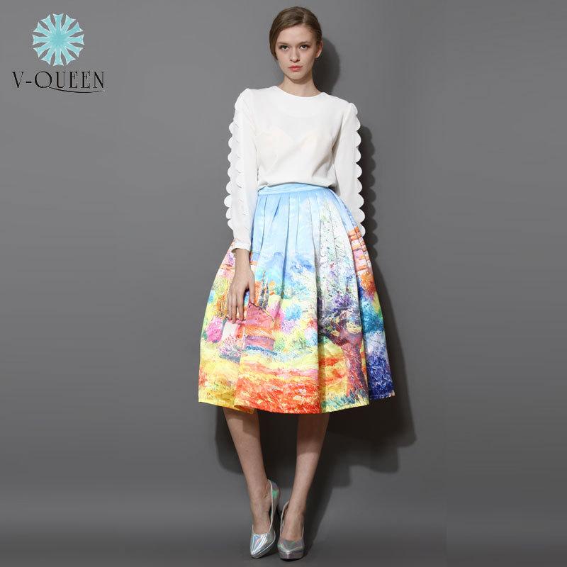 Fashion 2015 Satin Women Skirts Summer Spring Female Vintage Painting Pleated Midi Skirts Women Girls Skirt Plus Size XXL 141028(China (Mainland))