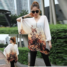 New Style 2015 Spring Summer Womens Batwing Blouse Loose Batwing Sleeve Chiffon Blouse V-Neck Tops Shirt Size L XL(China (Mainland))