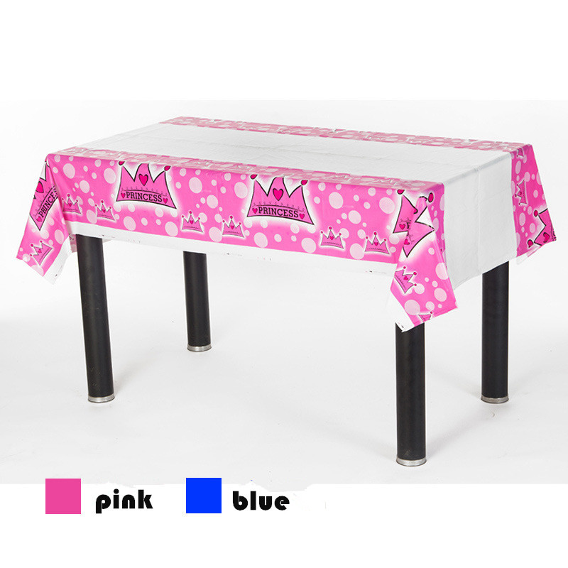 20pcs/lot 180*108cm Children's Day Birthday party Decor PLASTIC Table cover blue pink crown printing Party table cloth(China (Mainland))