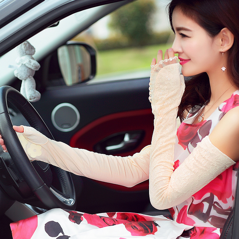 Sunscreen Gloves Female summer Long half-finger lace UV outdoor summer Lace Fingerless gloves Ladies Car Ride Gloves(China (Mainland))