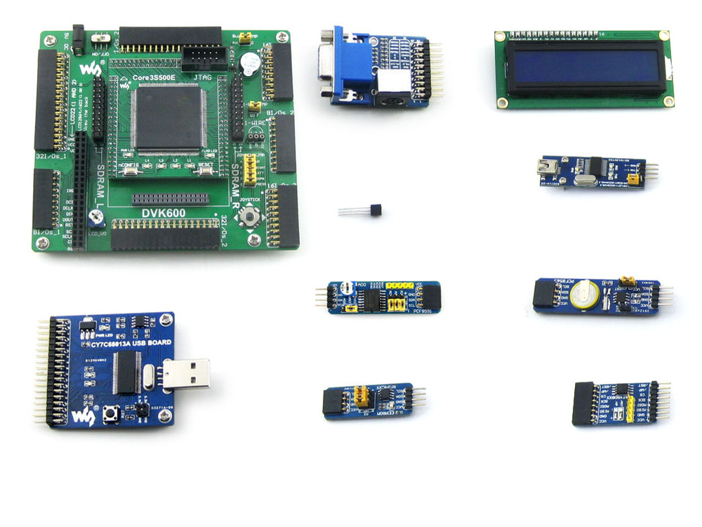 XILINX FPGA Development Board Xilinx Spartan-3E XC3S500E Evaluation Kit+ 10 Accessory Kits= Open3S500E Package A from Waveshare(China (Mainland))